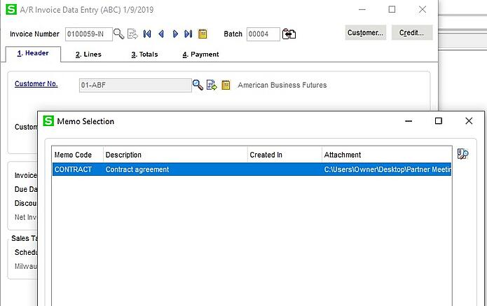 Attach Documents on Invoices in Sage 100 3